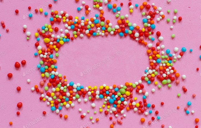 Colorful sugar sprinkles top view