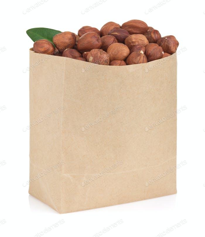 nuts hazelnut on white