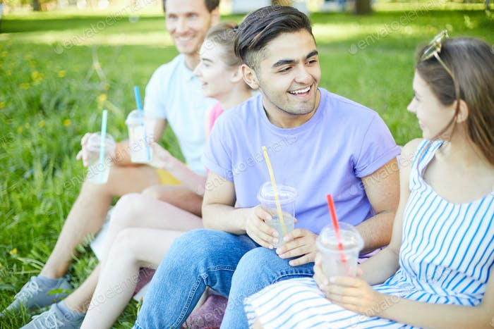 Teens with drinks