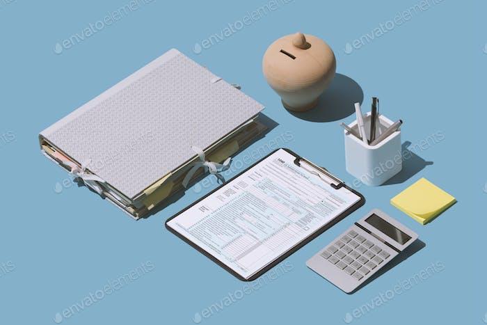 Einreichung des 1040 Steuererklärungsformulars
