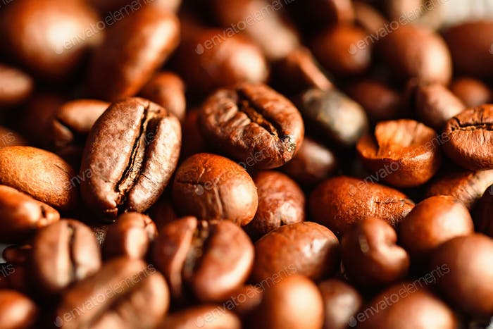 Close-up of brown roasted coffee beans