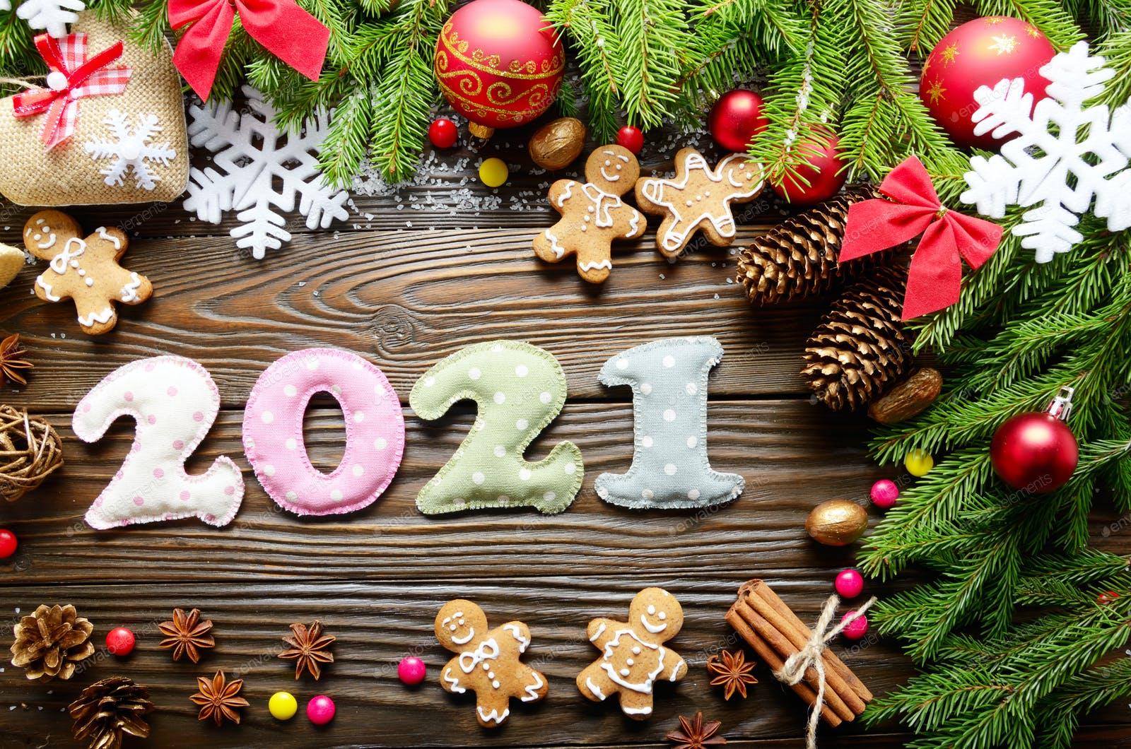 Christmas Fabric 2021 Release Colorful Stitched Digits 2021 Of Polkadot Fabric With Christmas Photo By E Mikh On Envato Elements