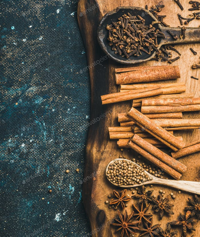 Winter warming spices for baking or cooking mulled wine
