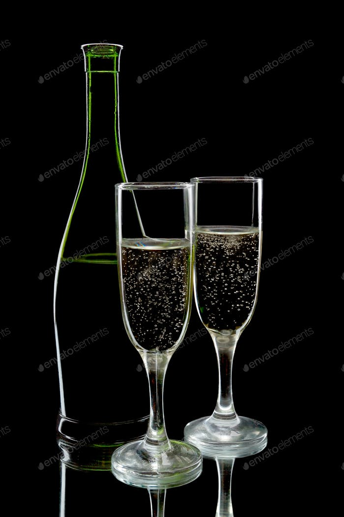 Champagne flutes and bottle