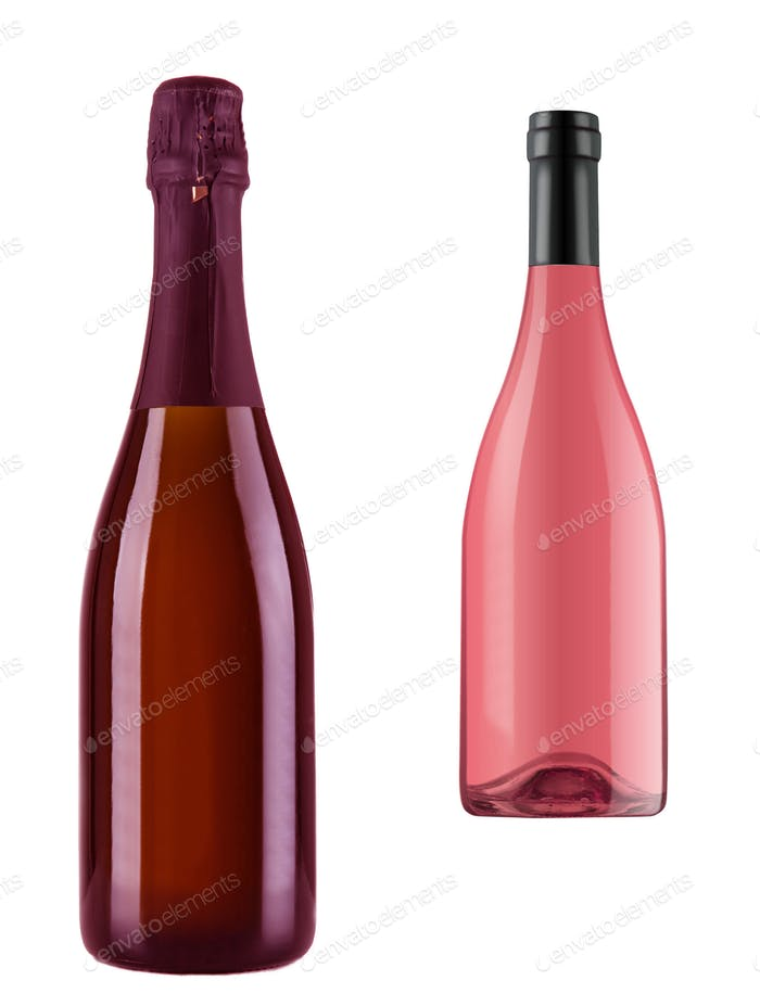 Two Champagnes bottles isolated