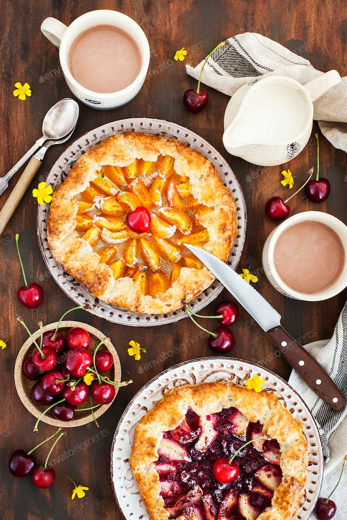 Rustic open pies with apricots and raspberry (french galettes)
