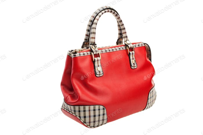 Red womens bag isolated on white background.