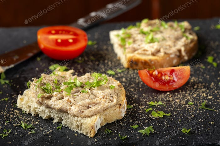 Bread with pork pate