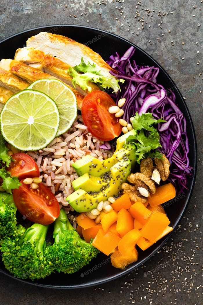 Buddha bowl meal with chicken filler