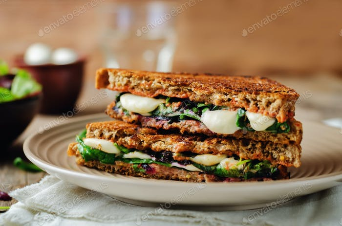 Fresh green mozzarella grilled rye sandwich