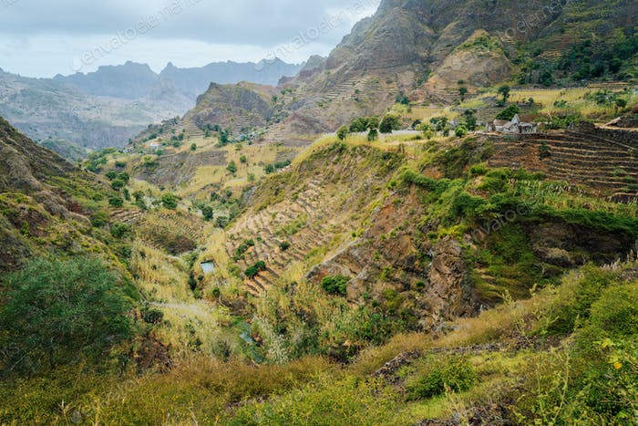 Great panorama view of terraces and farms fields near to Ribeira Grande. Santo Antao Island, Cape