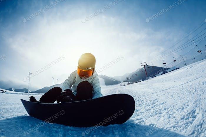 Snowboarder at ski resort