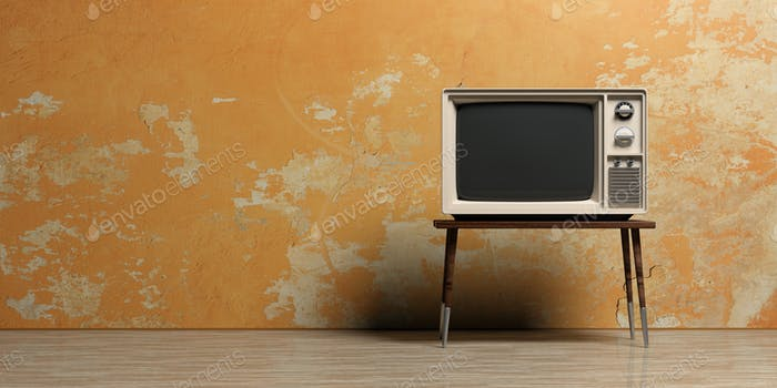 Vintage TV in an empty room. 3d illustration