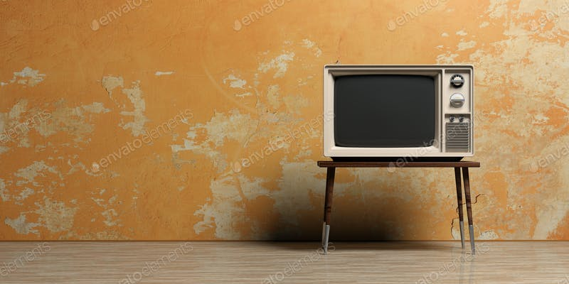 Vintage TV In An Empty Room 3d Illustration Photo By Rawf8 On Envato Elements