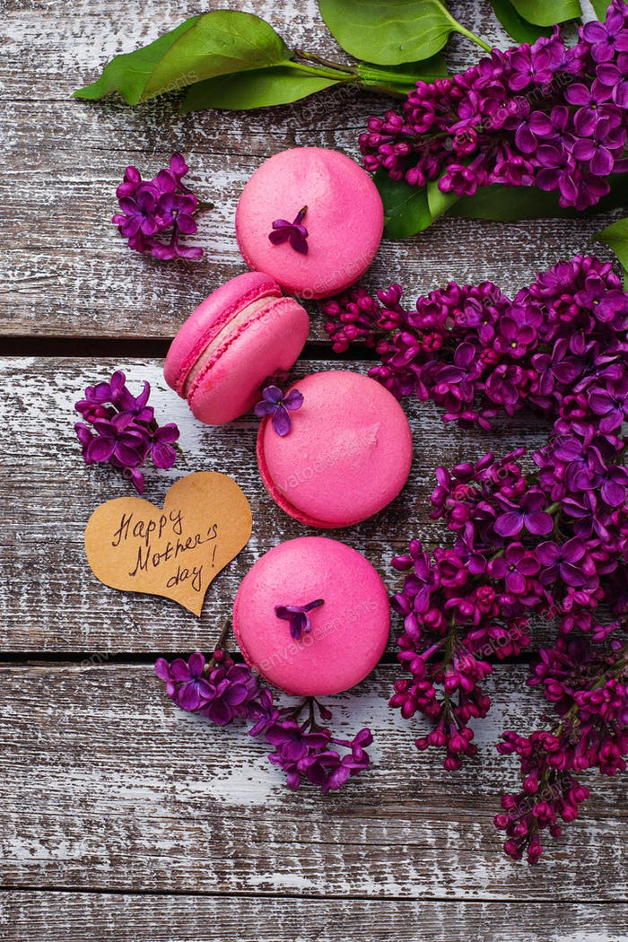 Mothers day background with  macaroons and lilac