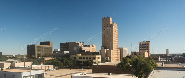 Fall Afternoon Blue Sky Lubbock Texas Downtown City Skyline