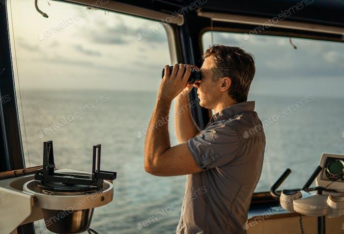 Navigational officer lookout on navigation watch