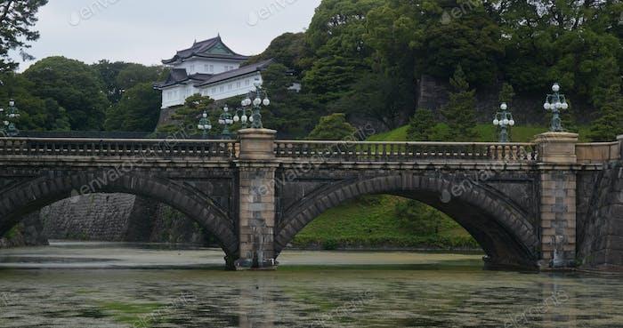 Tokio, Japón 29 junio 2019: Nijubashi en el Palacio Imperial de Tokio