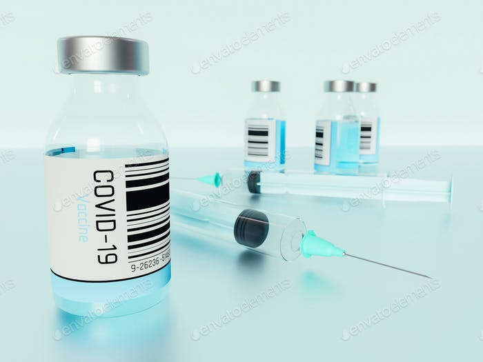Ilustración 3D. Botellas de vacunas Covid-19.