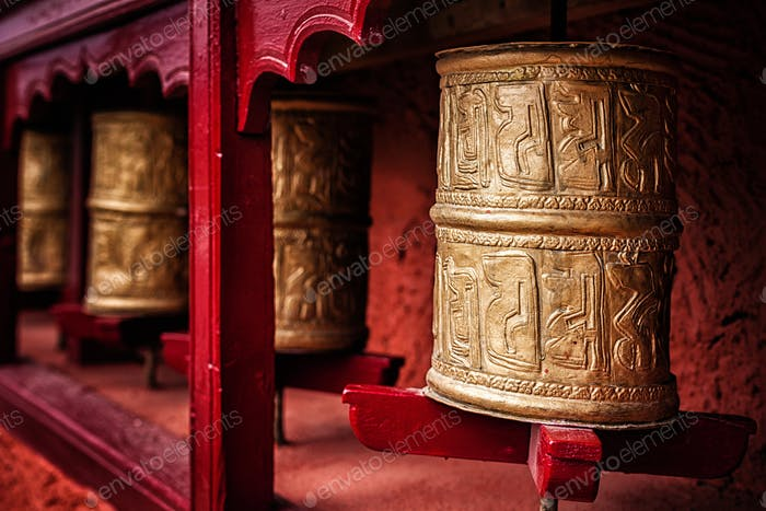 Buddhist prayer wheels , Ladakh