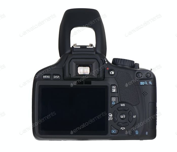 Back of  black camera isolated on white background