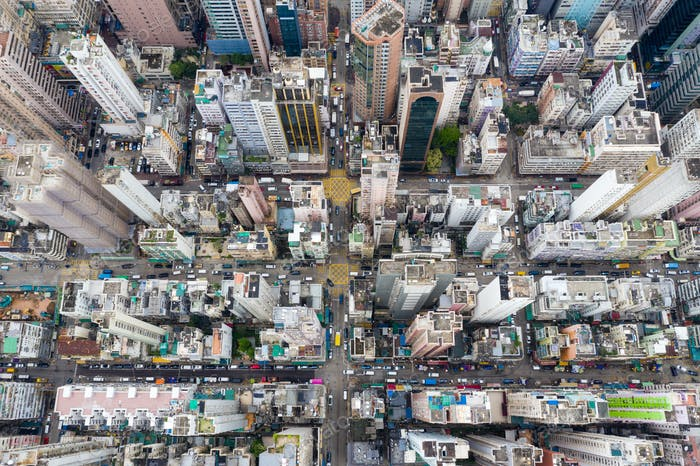 Yau Ma Tei, Hong Kong 09 May 2019: Top view of Hong Kong downtown city in Kowloon side