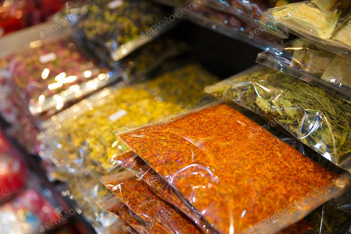 Various Packed Spices For Sale At Local Market