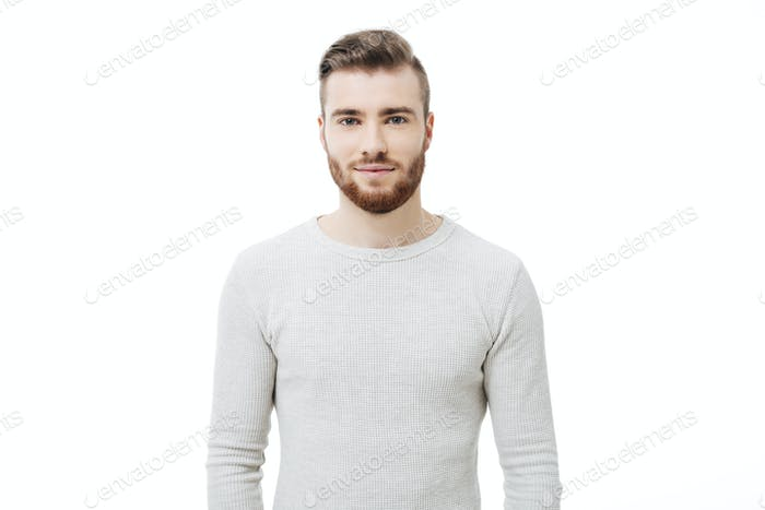 Attractive bearded guy isolated