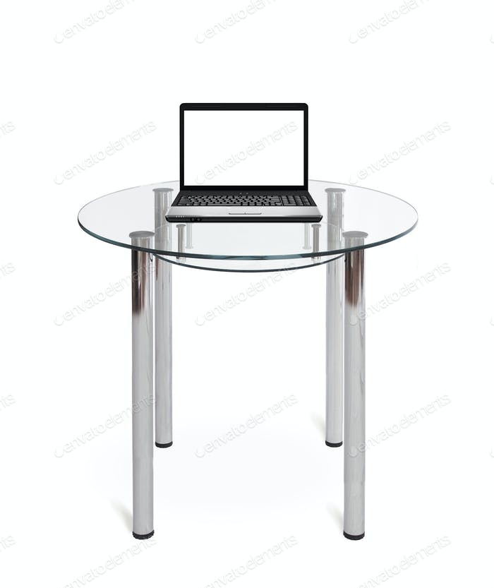 Nice laptop on a glass table