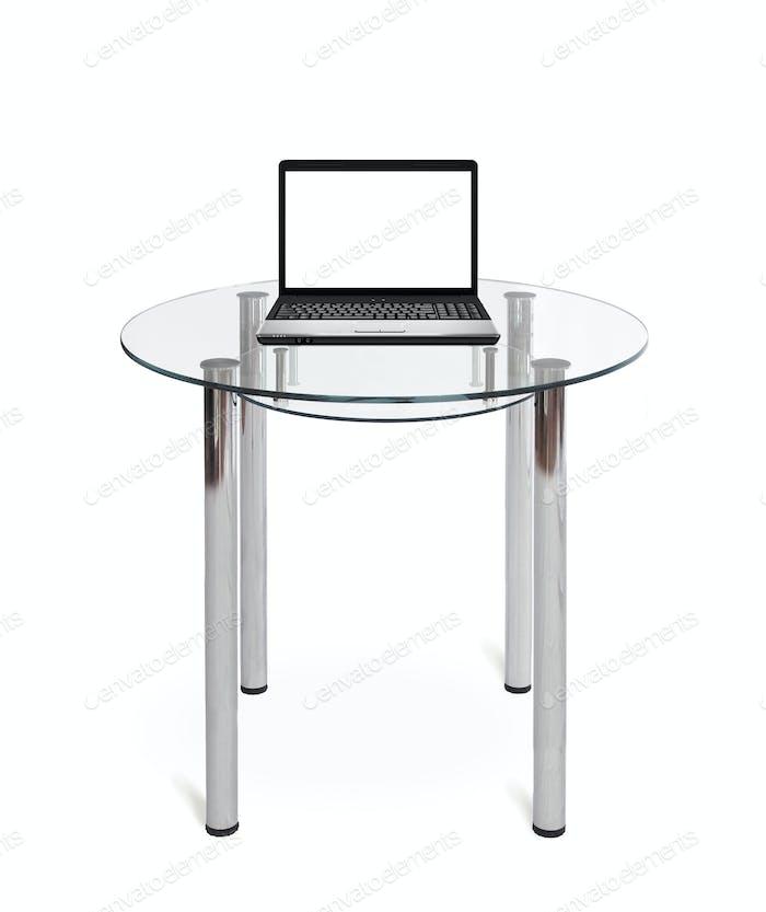 Хороший ноутбук на стеклянном столе