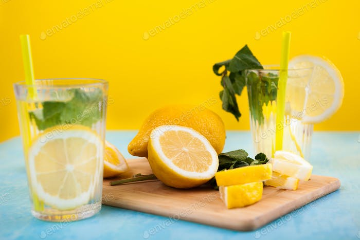 Glass with organic fresh natural lemonade