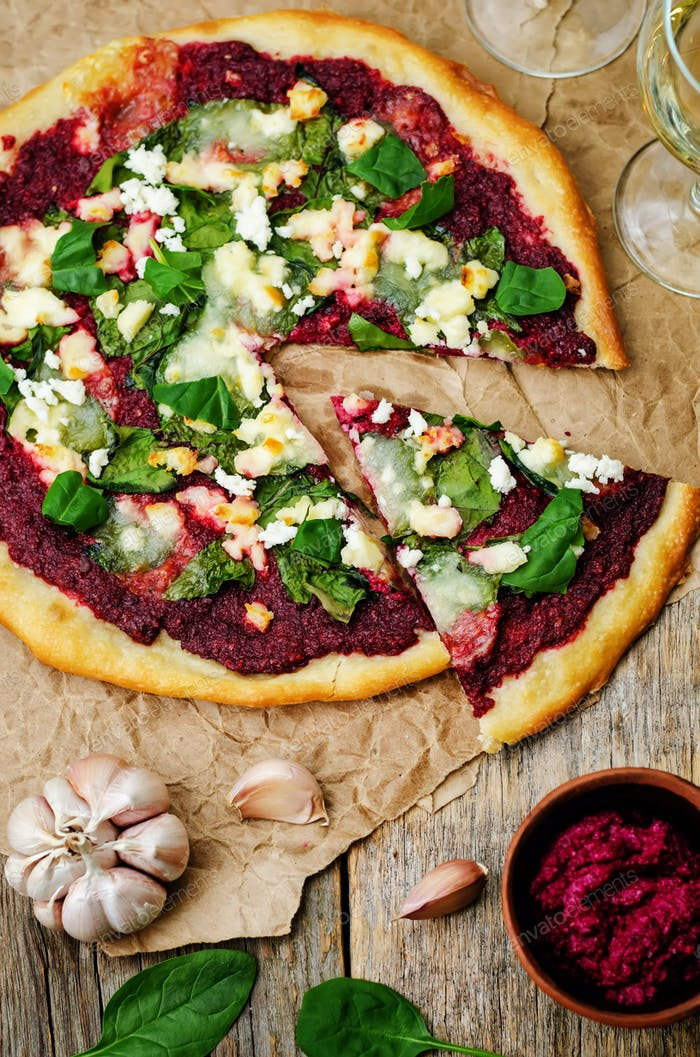 beet hummus spinach goat cheese pizza