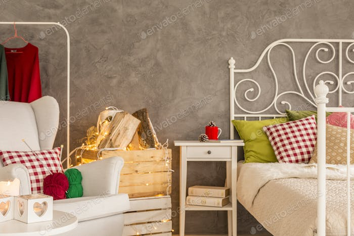 Bedroom with wooden crates