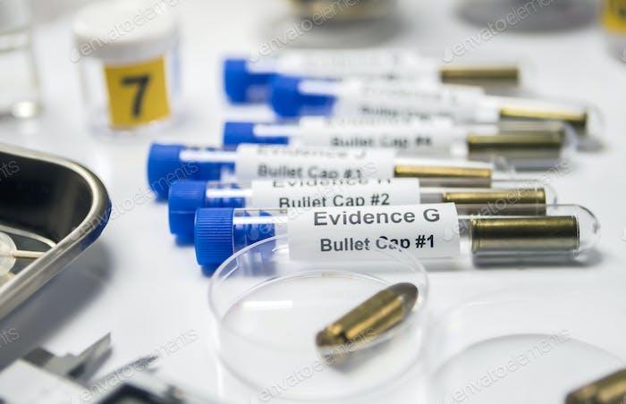 bala en laboratorio balístico, imagen conceptual