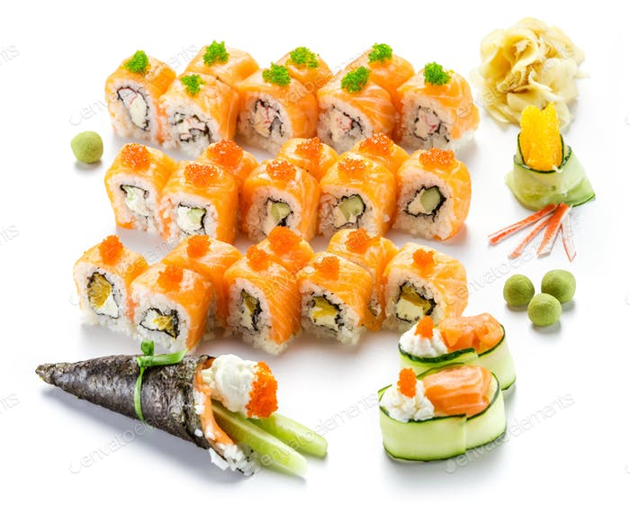 Sushi rolls with salmon, temaki roll and salad rolls