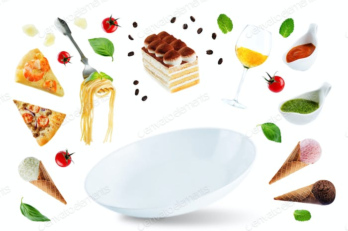 The variation of the flying Italian food and a white plate