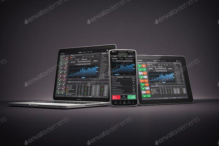 Portátil, teléfono inteligente y tablet pc con aplicación de comerciante de acciones, gráficos y diagramas en pantalla