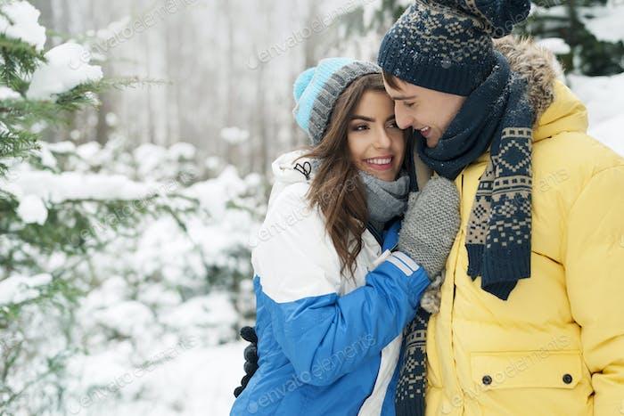 Passionate couple during winter season