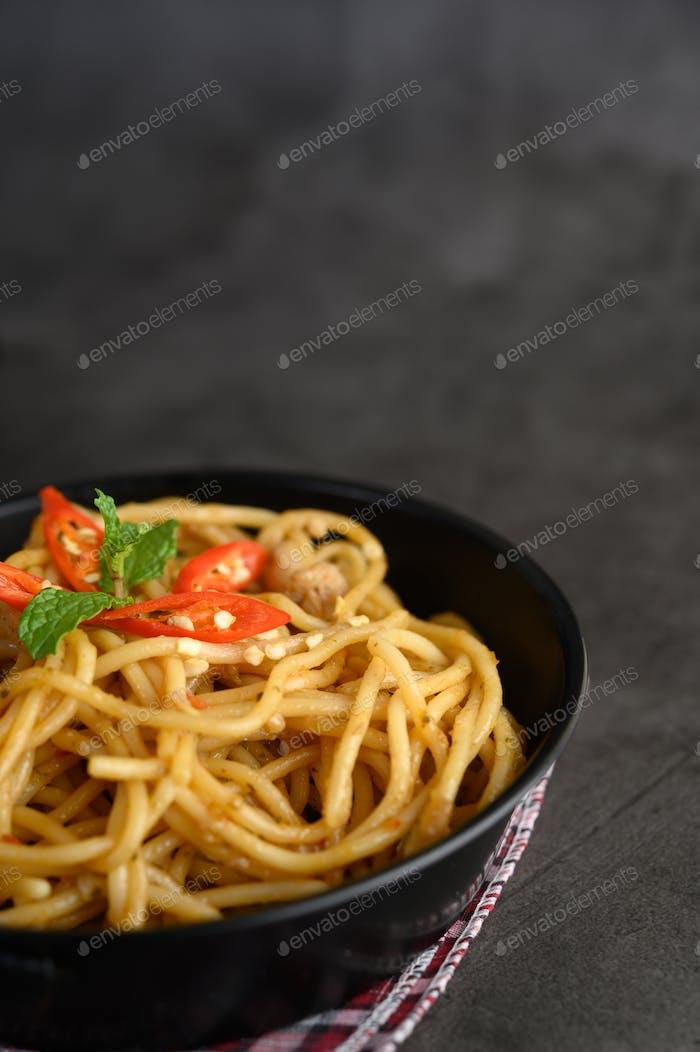 appetizing cooked spaghetti italian pasta with tomato sauce