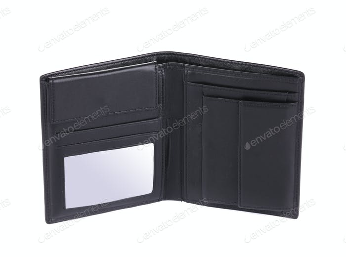 Geldbörse aus schwarzem Leder.
