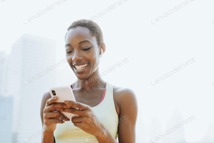 Woman using smartphone