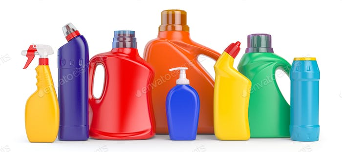 Set of detergent plastic bottles with chemical cleaning product on white background.