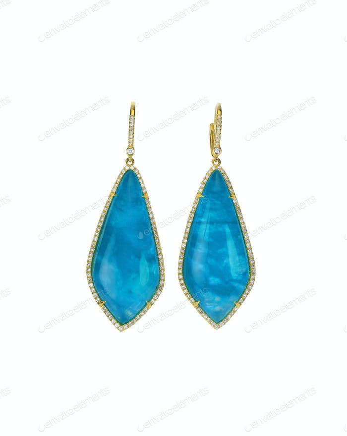 Blauer Opal Saphir Fashion Drop Ohrringe mit Diamanten