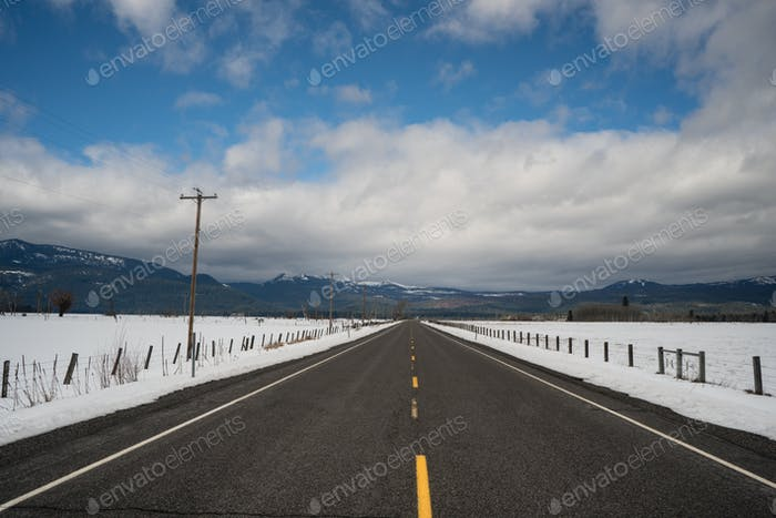 Dry Road Winter Season Rural Farm Land United States
