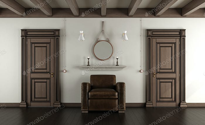 Classic room with armchair and closed doors