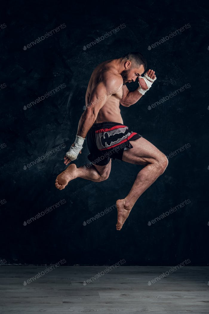 Portrait of focused fighter in jumping position
