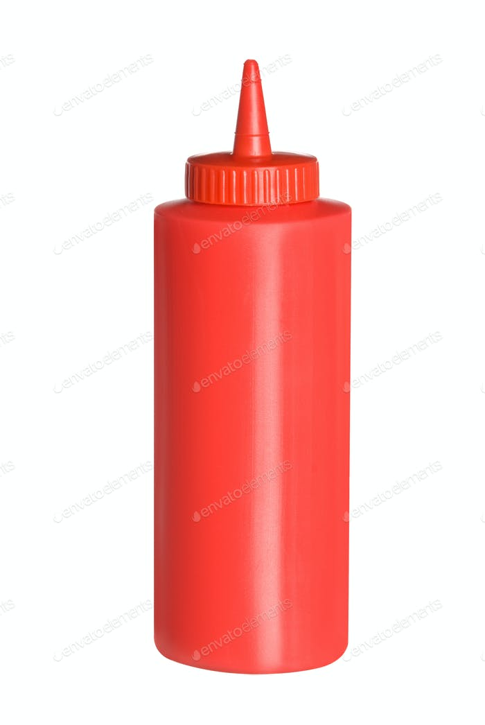 Isolated bottle of ketchup