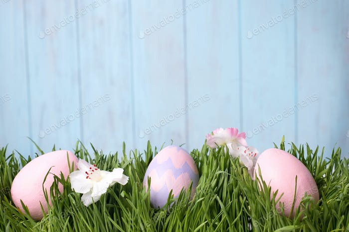 Thumbnail for decorated easter eggs in the grass