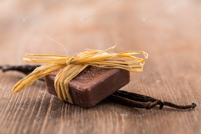 Bars of handmade vanilla soap