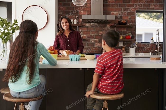 Mother Making School Lunches For Children In Kitchen At Home